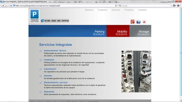 Página de parkingsolutions.com.pe diseñada por hostea.pe