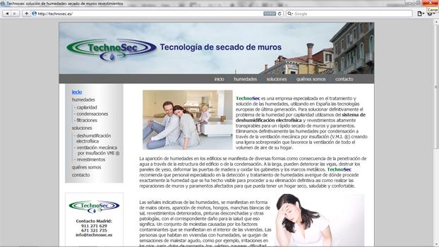 Página de technosec.es diseñada por hostea.pe