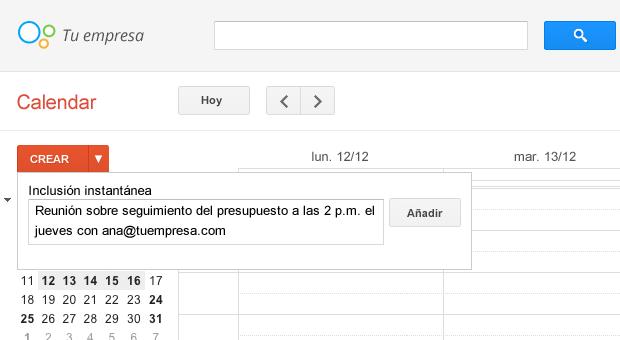 Crea un evento en Google Calendar
