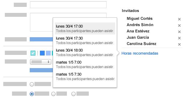 Google Calendar te sugiere una hora adecuada para todos.