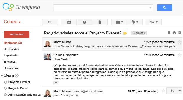 Respuestas de grupos a un mensaje de Gmail.