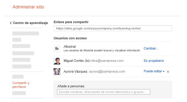 Comparte tus sitios de proyectos gracias a Google Sites.