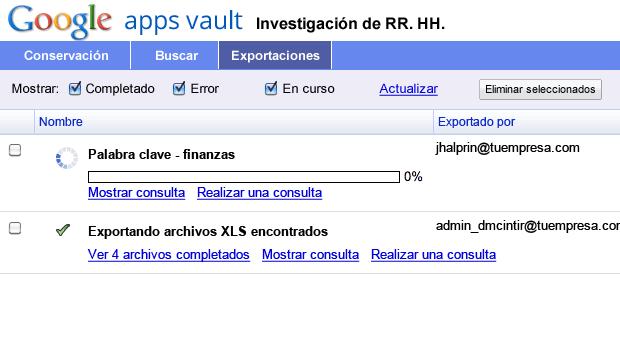 Exporta mensajes para revisarlos y analizarlos con más detalle gracias a Vault.